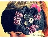 Crochet Flower Headband ear warmer boho headwrap - Adult size - black pink