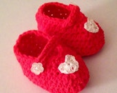 Red Mary Jane Baby Slippers, Red Baby Shoes, Red Booties, Baby Shoes, Red Shoes