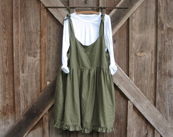 linen jumper pinafore apron dress tunic in moss green ready to ship