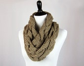Hand Knit Cowl, Infinity Scarf, Cabled, Superwash Merino Wool Yarn, Beige, Warm, Handmade, Gift, Cozy Wrap, Winter Wear, Allover Cables