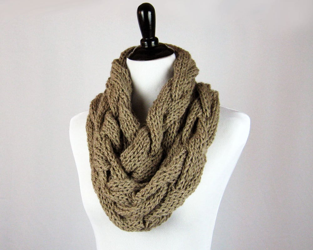 Cable Knit Infinity Scarf Knitting Pattern : Hand Knit Cowl Infinity Scarf Cabled Superwash Merino Wool
