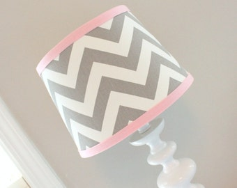 Small White Gray Chevron lamp shade with accent Pink.