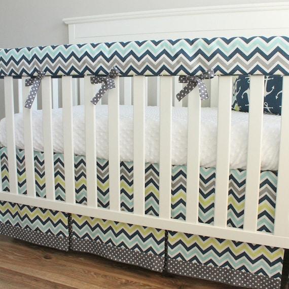 navy blue anchor chevron crib rail bedding set