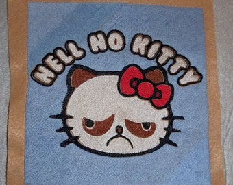 Hell No Grumpy Kitty Tapestry (embroidered wall art)