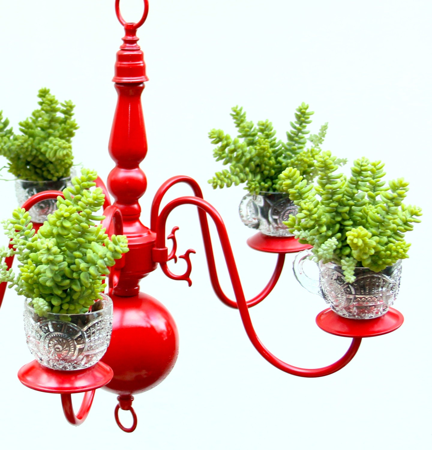 Hanging Light With Planter: Chandelier Succulent Planter Recycled Lighting By NevaStarr