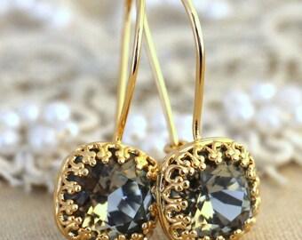 Black diamond earrings, Black Diamond Crystal earrings, Gray Swarovski earrings, Gold filled dangle earrings, Gift for her, Wedding jewelry.