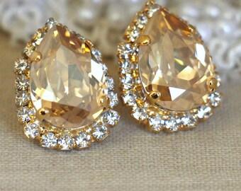 Champagne Earrings,Champagne Crystal earrings,Topaz Gold Crystal Swarovski earrings, teardrop stud earrings, Bridal jewelry,Bridesmaids gift