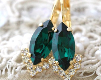 Emerald Green drop earrings,Swarovski Emerald Red earrings Green marquise Emerald drop earrings delicate earrings Bridesmaids gifts