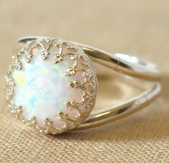Items Similar To Opal Ring Exquisite Braided Opal: Items Similar To Opal Ring White Opal Ring Silver Opal