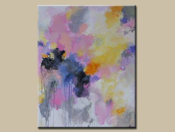abstract acrylic painting soft pinklight yellowsilverabstract painting original fine art acryclic painting soft
