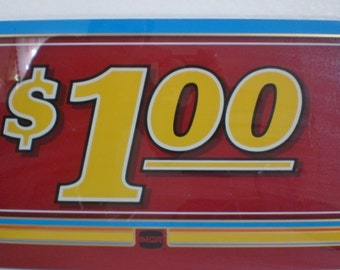 Vintage One Dollar 1.00 Slot Machine Glass 1980s Casino Man Cave Decor Home Decor Red Yellow Blue GallivantsVintage