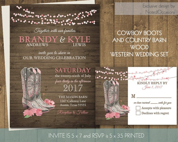 printable country western wedding invitations set cowboy boots, invitation samples