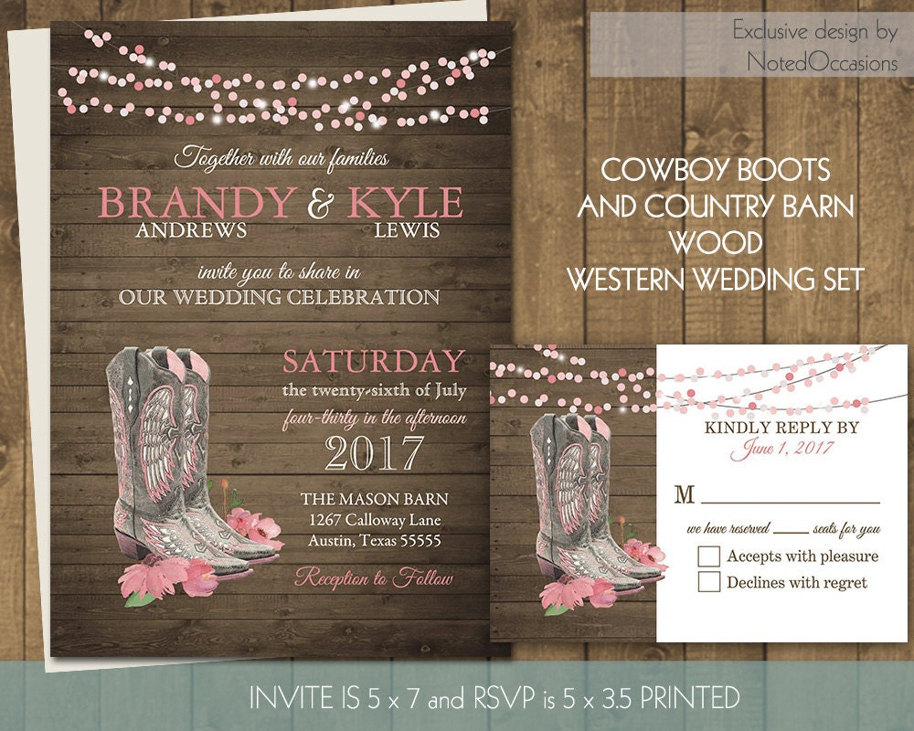 Western Wedding Invitation Wording: Printable Country Western Wedding Invitations Set Cowboy Boots