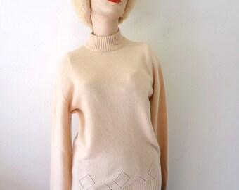 1980s Cashmere Sweater - vintage wool knit mock turtleneck - camel color jumper