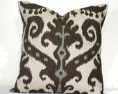 Chocolate Brown Ikat Pillow Cover, 18 x18 inch Decorative Throw Pillow, Cushion Cover