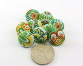 Fabric Buttons / Apple Green Delicate Craft Buttons / Pushpins / Pretty Tiny  / Fabric Covered Button / Small / Jewelry Supplies