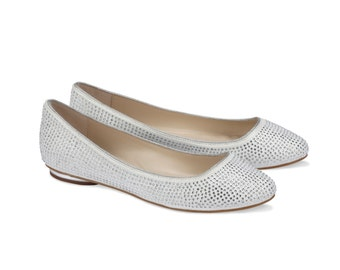 Flat Wedding Shoes , Ballet Style Shoe, Crystal Look, Wedding Flat Bridal Shoes, Pink2Blue Shoes