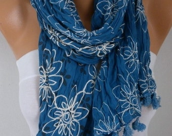 ON SALE - Teal Embroidered Floral Cotton Scarf,Fall Scarf, Christmas Gift,Bohemian Shawl Cowl Gift Ideas For Her Women's Fashion Accessories