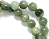 Green Line Jasper Beads - 6mm Round - Half Strand