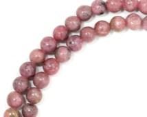 Rhodonite Beads - 4mm Round - Full Strand