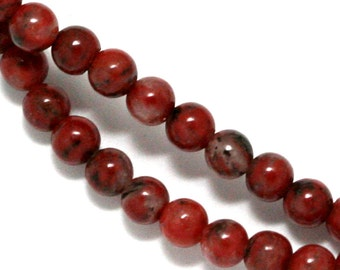 Red Sesame Jasper Beads - 4mm Round