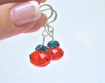 Red And Green Christmas Earrings, Preppy Style, Boho Style, Holidays Style, Winter Colors