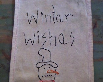 Christmas Winter Snowman Stitchery on Vintage Linen Primitive Country