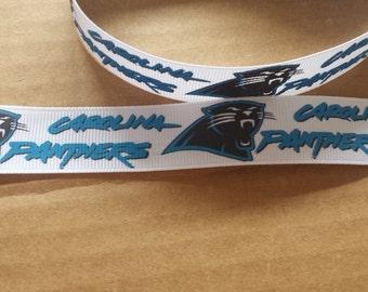 7/8 inch Carolina Panthers grosgain ribbon