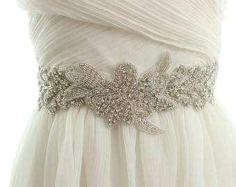 Bridal beaded sash, wedding crystal sash, rhinestone belt, crystal bridal belt, beaded bridal sash, appliqué bridal sash - FANTINE