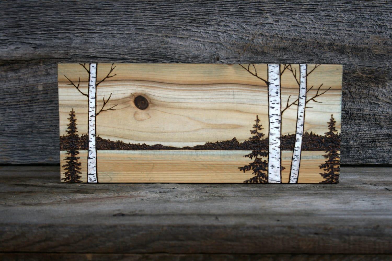 Across The Meadow Wood Burned Landscape Art On Wood