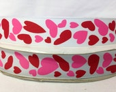 10 Yds ****SaLE!!!! WHOLESALE 7/8 Inch CONFETTI HEARTS Valentines Day grosgrain ribbon Low Shipping Cost