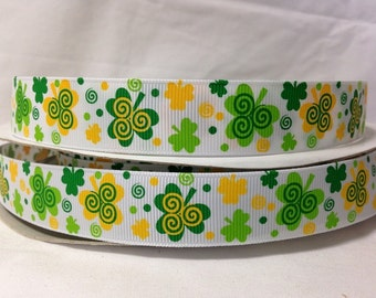 25 Yds Spool ****SaLE!!!! WHOLESALE 7/8 Inch SWIRLY SHAMROCKS St Patrick's Day grosgrain ribbon Low Shipping Cost