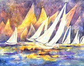 Watercolor Sailboats Water by Colorado Artist Martha Kisling
