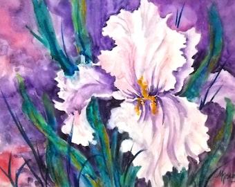 STUDIO SALE - Watercolor on Gesso of Large White Iris - Original Art