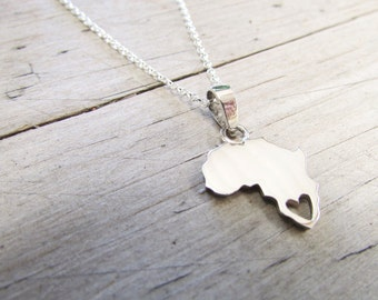 africa necklace with heart + engraving for mnmharris2
