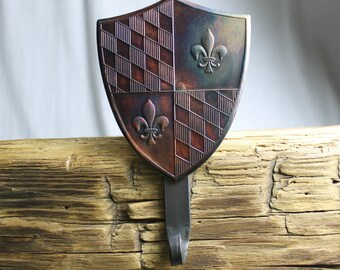 Fleur-de-lis Shield Christmas Stocking Hanger,Holder-Forged Iron-Weighs 2 1/2 lbs.
