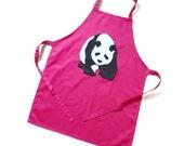kids apron hot pink panda apron 7-10 years personalised