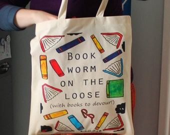 Book worm bag funny reading gift bookworm library bag and badge with colourful books