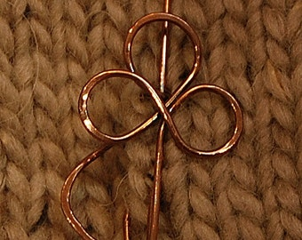 Copper Celtic Knot Trinity Flower Pin