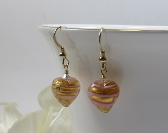 Pink Gold Heart Murano Earrings, Pink Peppermint Heart Earrings, Venetian Striped Rose Heart Earrings with 14kt Goldfill & Swarovski Crystal
