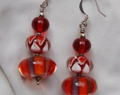 Red Glass in Silver Plate Earrings....item number 395