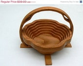 Xmas Sale to DEC.16 Collapsible Wood Basket in Solid Red Oak