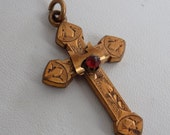 Antique pendant, 1800's gold filled with red stone ornate etched cross pendant, collectible jewelry