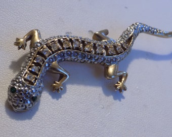 Vintage brooch, crystal filled lizard or gecko brooch, statement figural brooch, retro brooch