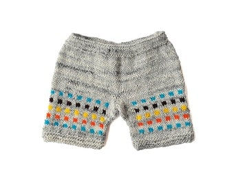 Childrens Kids baby / toddler girls boys hand knitted grey wool shorts shorties yellow blue, Fall Winter 12-18-24 months, 2T 3T 4T 5 6 7