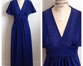 Vintage 1970s indigo blue maxi dress