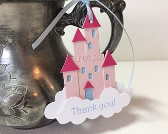 Princess party favor tags, castle thank you tags, princess birthday, set of 12
