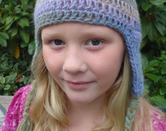 Ear Flap Crochet Handmade Beanie Hat Winter Fall Pastels