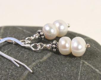 Ivory White Fresh Water Pearl Earrings with Sterling Silver, Bridal Earrings