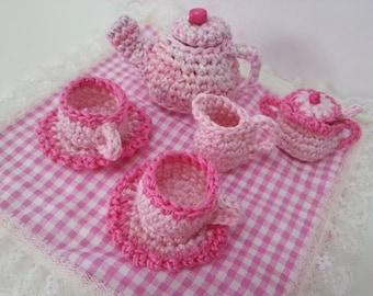 Pink Mini Tea Set, Crocheted Tea Set Toy, Cup and Saucers, Creamer, Sugar bowl and Tea Pot.